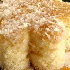 Receita de Bolo Colchão de Coco - 3 ovos, 1 xícara (chá) de leite, 2 xícaras (chá) de açúcar, 2 xícaras (chá) de farinha de trigo, 1 colher (sopa) de fermen...