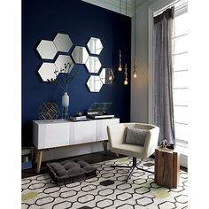 """Shop set of 3 swarm 13""""x15"""" wall mirrors.   Trio of hexagons arranges an interactive, reflective hive in any composition.  Framed in white powdercoated steel, three geometric forms cluster together or float solo.  Either way, creates modern buzz."""