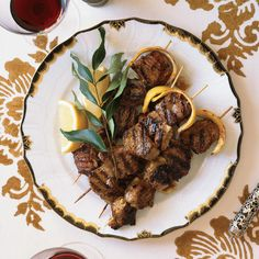 Marinating lamb kebabs in yogurt makes them extra tender, and basting the meat with lemon butter just before serving adds an extra layer of bright flavor. Marinated Lamb, Grilled Lamb, Grilled Food, Lamb Dishes, Food Dishes, Lamb Recipes, Wine Recipes, Veal Recipes, Skewer Recipes