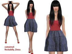 The Sims Resource: Rockabilly Minidress polkadot by Sweetsims4 • Sims 4 Downloads