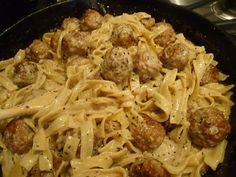 Egg noodles with meatballs