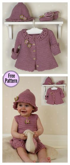 Little Miss Berry Set Free Crochet Pattern #freecrochetpatterns #babydress #babycrochet