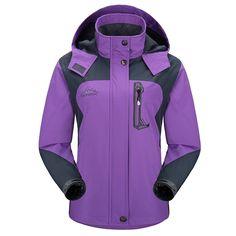 Diamond Candy Sportswear Women's Hooded Windbreaker Resolve Rain Waterproof Jacket Purple 5 L $39