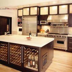 kitchen island with wine chiller
