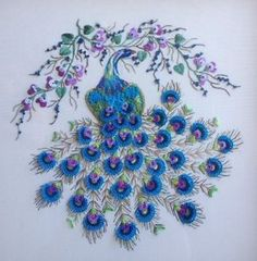 Brazilian-Dimensional-Stitchery-Embroidery-Pattern-Majestic-Peacock