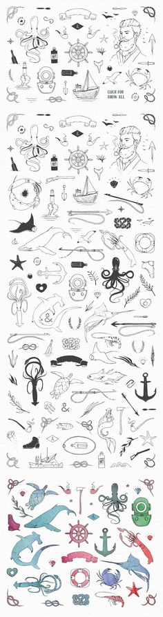 Aquatic naval sea themed illustrations with watercolor textures. Icons include: octopus, crab, ship captain, anchor, banners, stingray, fish, sea turtles, jelly fish, whales, starfish, diver helmet, steering wheel, harpoon, sail boat, and more.