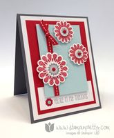 """Stamp Sets: A Dozen Thoughts, Polka-Dot Pieces Paper: Soft Sky, Real Red, Basic Gray, Whisper White Ink: Real Red, Basic Gray Cool Tools: 1 3/4"""" Scallop Circle Punch , 1 1/4"""" Scallop Circle Punch, 1/2"""" Circle Punch, 3/4"""" Circle Punch, Itty Bitty Shapes Punch Pack The Perfect Touch: Bright Candy Dots, Subtles Candy Dots, Real Red 1/4"""" Grosgrain Ribbon"""