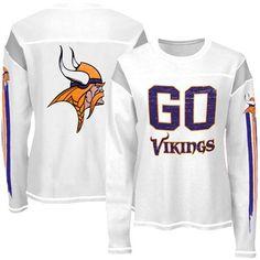 Reebok Minnesota Vikings Ladies Go Team Thermal Premium Long Sleeve T-Shirt - White  #FanaticsSummerWishList