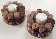 Use corks around votive candle holder - a great idea.