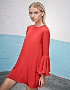 Alexis Dianne Bell Sleeved Dress in Red
