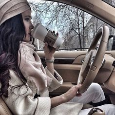 Winter fashion, cruising and Starbucks coffee  Me almost every morning!