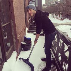 Our intern, @noahgopen, hates shoveling snow. At least he has his #ThinkSay Hat to keep him warm - head over to our website at thinksayrecords.com to get your own hat today! #Juno #Blizzard