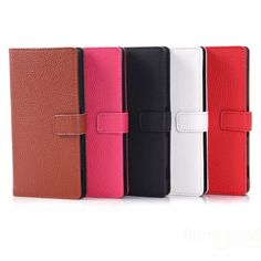 Fashion Magnetic Clasp Litchi Grain Leather Case For Sony Z2