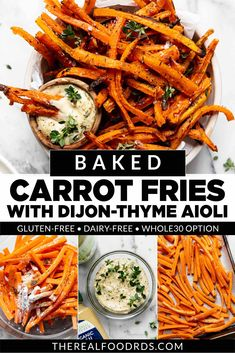 With perfectly crisped outer edges and tender sweetness at the center, these oven-baked carrot fries are an awesome new way to serve a favorite nutritious veggie! Seasoned with garlic powder, onion powder, and dried thyme, our baked carrot fries will disappear so fast. Healthy Side Dishes, Good Healthy Recipes, Clean Recipes, Real Food Recipes, Carrot Fries, Mustard Recipe, Recipe Maker, Carrot Recipes, Oven Baked