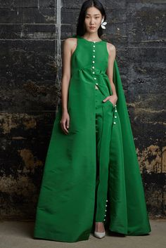 Rosie Assoulin Gorgeous Green Gown & Slim Pants