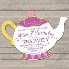 Items similar to Princess Tea Party Birthday Party Invitation, teapot, beauty, beast, digital file or printed and shipped on Etsy Girls Tea Party, Princess Tea Party, Tea Party Birthday, 4th Birthday Parties, Birthday Ideas, 5th Birthday, Princess Party Games, 21st Party, Birthday Design