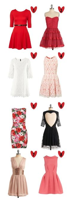 Valentine's Day Dresses! Red, White, Lace and Pink. Love <3