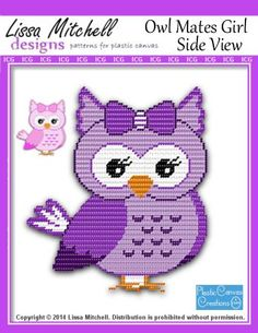 Everything Plastic Canvas - Owl Mates Girl Side View - Single Page Pattern