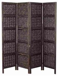 "4 Panel Emperor Wood Room Divider . In antique brown colors one of the best room divider screen for your home. Magnificently hand made by reputable artisans. This wood screen is done in hardwood with elegant hand carving.This 4 panel room divider is 72"" high and 80"" wide.Great add on for any room decor"