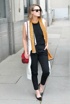 spring / summer - street style - street chic style - summer outfits - work outfits - business casual - office wear - casual outfits - black knit tank top + black ankle pants + black sunglasses + black pointy toe flats + white sleeveless trench + red shoulder bag + yellow dotted print scarf
