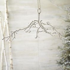 Hanging Aluminum Branch  | Crate and Barrel $69,95 Oh. I have a myriad of collections- fro natural to modern to homemade- that would look lovely hanging from these branches! Even just sparkly lights would be simple and beautiful! LOVE this!!! May need more than one!