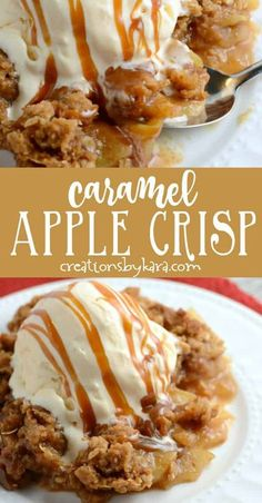Love apple crisp and caramel apples? Give this Caramel Apple Crisp a try. It is the best of both worlds. A perfect fall dessert recipe! #caramelapplecrisp #applecrisp #applecrispwithcaramel #apples #caramel #creationsbykara