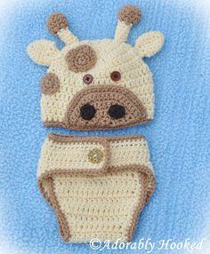 Crochet Giraffe Hat & Diaper Cover