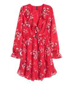 Vestido cruzado | Rojo/Floral | Mujer | H&M MX