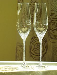 Personalized Champagne Wedding Flutes Set of 2 Wedding by Adeleart