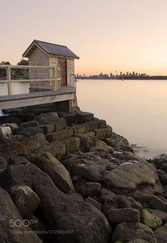 Watsons by OnurVardar  lake sea sunset house cityscape orange pink skyline long exposure bay australia smooth silk sydney n