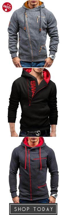 Men s Fashion Zipper Cotton Drawstring Long Sleeve Casual Hoodies f0274632a0d