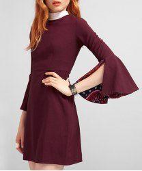 Vintage Jewel Neck Slit Bell Bottom Sleeve High Waist Dress For Women