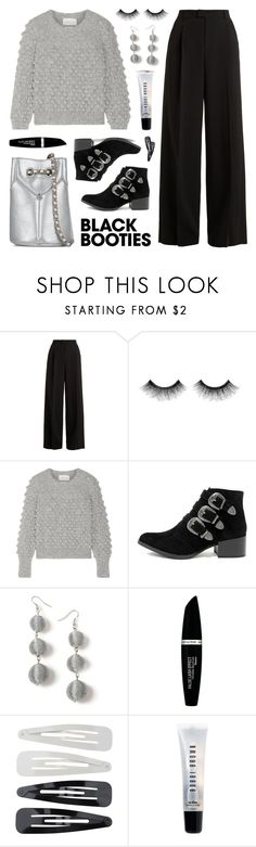 """Back to Basics: Black Booties"" by lgb321 ❤ liked on Polyvore featuring RED Valentino, Urban Decay, Eleven Six, Qupid, Miss Selfridge, Jérôme Dreyfuss, Max Factor, Forever 21, Bobbi Brown Cosmetics and booties"