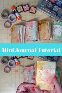 Enjoy this tutorial on making these cute mini journals. Each is decorated with a Jane Davenport or Dina Wakley Face Stamp. www.stitchesbyjulia.etsy.com