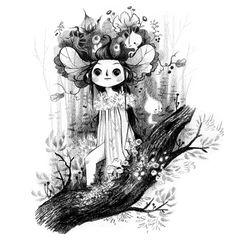 Black & white + Drawing + Whimsical + Nature + Elfs + Into the woods = Lorena Alvarez