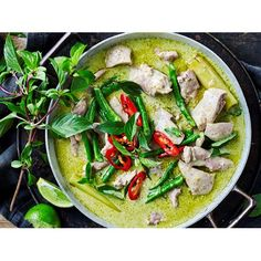 Our recipe for green chicken curry includes all the steps you need to make a green curry paste from scratch for the ultimate homemade Thai dish! Thai Green Chicken Curry, Thai Green Curry Recipes, Thai Curry, Healthy Thai Green Curry, Green Thai, Healthy Curry Recipe, Curry Dishes, Masala Recipe, Chicken Recipes