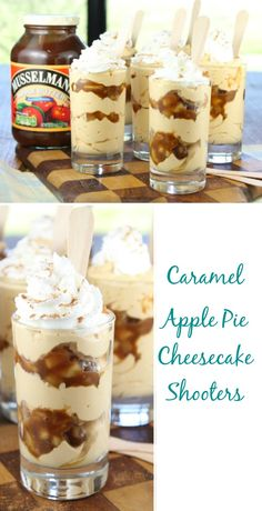 Caramel Apple Cheesecake Shooters Recipe found at Miss in the Kitchen #AppleButterSpin