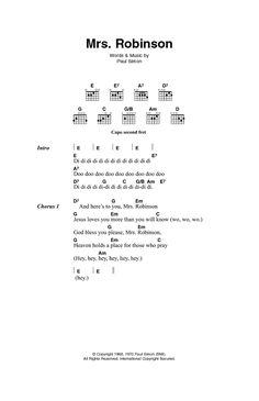 Mrs. Robinson by Simon & Garfunkel - Guitar Chords/Lyrics - Guitar Instructor