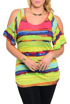 DHStyles Women's Lime Pink Plus Size Demure Cut Out Shoulder Mixed Print Club Top - 2X #sexytops #clubclothes #sexydresses #fashionablesexydress #sexyshirts #sexyclothes #cocktaildresses #clubwear #cheapsexydresses #clubdresses #cheaptops #partytops #partydress #haltertops #cocktaildresses #partydresses #minidress #nightclubclothes #hotfashion #juniorsclothing #cocktaildress #glamclothing #sexytop #womensclothes #clubbingclothes #juniorsclothes #juniorclothes #trendyclothing #minidresses…