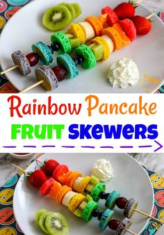 These rainbow pancakes and fruit skewers are the perfect kid friendly recipe for a fun breakfast or any rainbow themed party! Breakfast For Kids, Best Breakfast, Breakfast Fruit, Breakfast Recipes, Breakfast Pancakes, Brunch Recipes, Rainbow Pancakes, Fruit Pancakes, Fruit Skewers