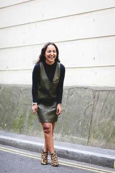 River Island roll neck top, Zara leather green dress, Next leopard print ankle boots, Olivia Burton watch, Astrid & Miyu earrings.  Jazzria Harris, Fashion Cupboard Manager.  What ELLE Wears to Work, Summer Street Style. London.