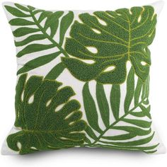 Embroidery Tropical Green Leaf Pillow / Cushion Covers / | Etsy Buy Pillows, Green Throw Pillows, Large Pillows, Floor Pillows, Throw Cushions, Large Pillow Covers, Cushion Covers, Throw Pillow Covers, Embroidered Pillowcases