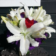 Bridal Bouquet-White lilies, red roses, and purple lisianthus