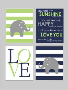 Navy Blue and Lime Green Nursery and Navy Elephant by karimachal