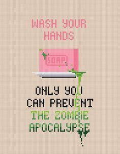 Wash Your Hands Zombie Apocalypse Digital by AmazingCrossStitch