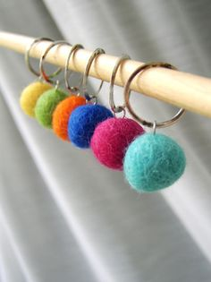 Rainbow Colors - The Felt Collection  Six Handmade Stitchmarkers