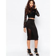 AKA Midi Pencil Skirt ($41) ❤ liked on Polyvore featuring skirts, black, black skirt, black midi skirt, calf length skirts, midi skirt and tall skirts