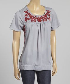 Look what I found on #zulily! Silver & Red Embroidered Scoop Neck Top by Simply Irresistible #zulilyfinds