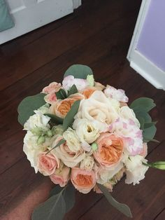 Blush and white wedding bouquet by Reynolds Treasures