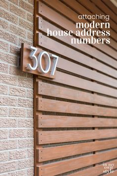 House Address Numbers, House Numbers, Brick Facade, Facade House, House Exteriors, Uses Of Wood, Modern House Facades, Floating House, Modern Planters